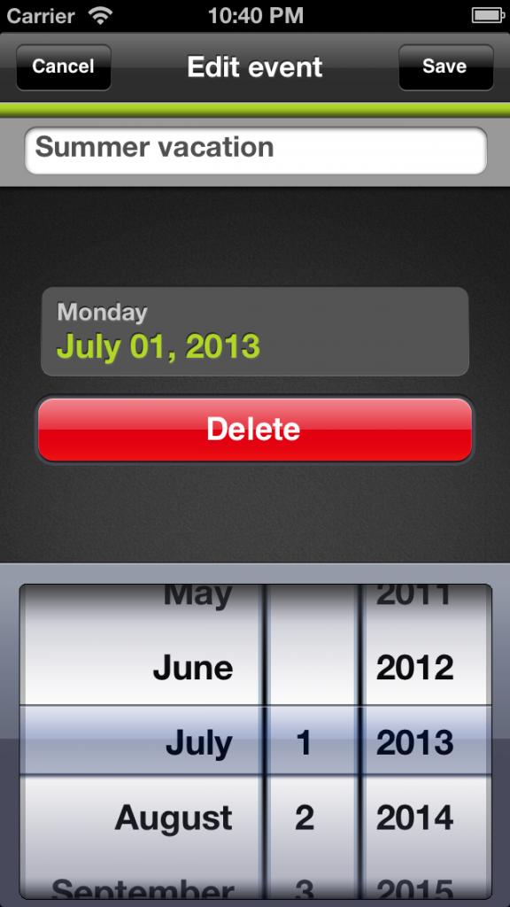 Skapa nytt event - Nedräknings app